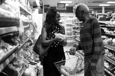 A lady and a man shopping